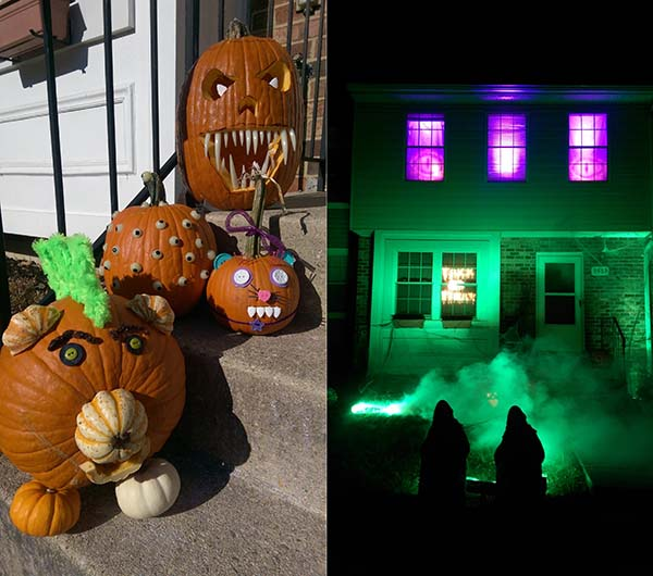 Keith Grifford Submission. Pumpkins and gobos projecting purple eyes in the windows of a house at night.