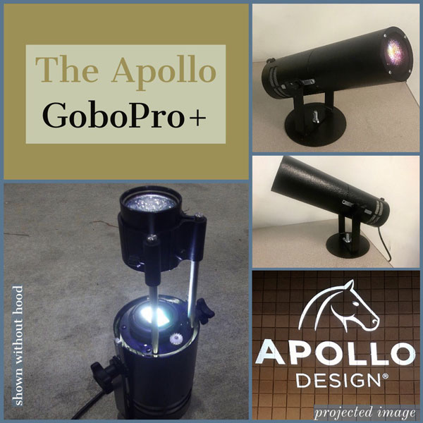 Gobo Pro images in a collage with one image of the Apollo Logo Projected