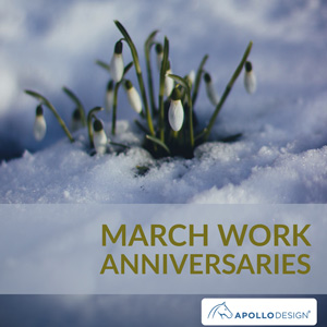March Work Anniversaries At Apollo Image of Flowers Budding Through Snow