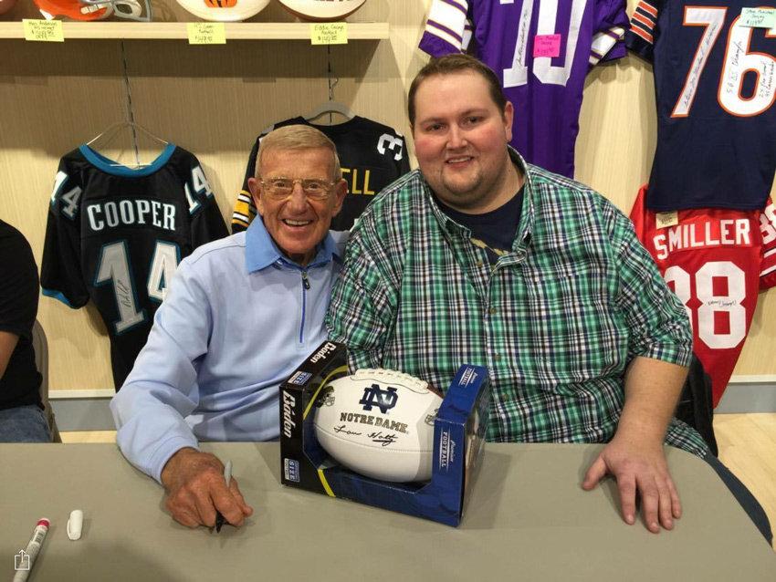 Phil Harber and former University of Notre Dame football coach, Lou Holtz.