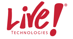 Live Technologies, Logo in red.