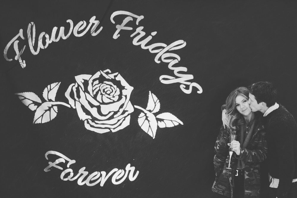Alexis Linnemeier and Jr after, Flower Fridays Forever in black and white.
