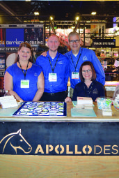 Image of Crystal Gonzales, David Stauss, Joel Nichols, and Melissa Irk behind Apollo Booth at USITT Stage Expo