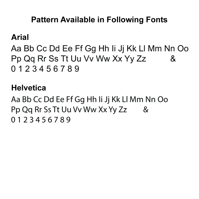 Pattern available as Arial or Helvetica font.