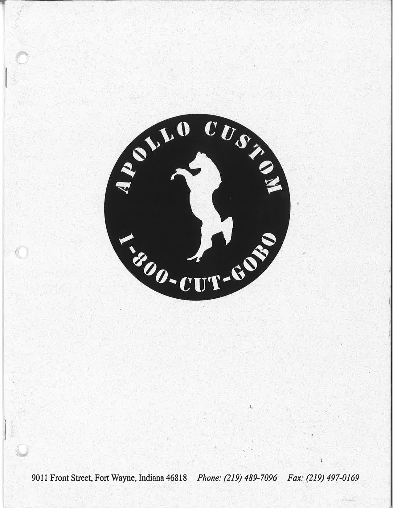The cover of the 1st Apollo Custom Standards Gobo Catalog.